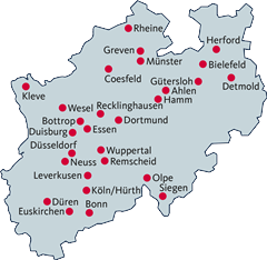 Karte mit HaLt-Standorten in NRW